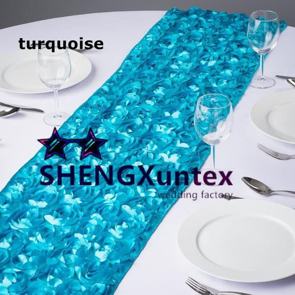 30cm*275cm Satin Rosette Table Runner For Table Cloth Used On Wedding