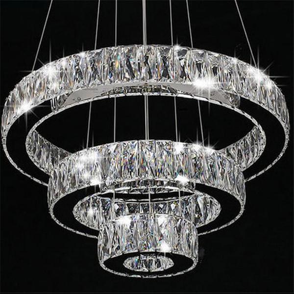 ac100 240v moderne led kronleuchter lange kristalle diamant ring led lampe edelstahl hngeleuchten cristal led - Kronleuchter