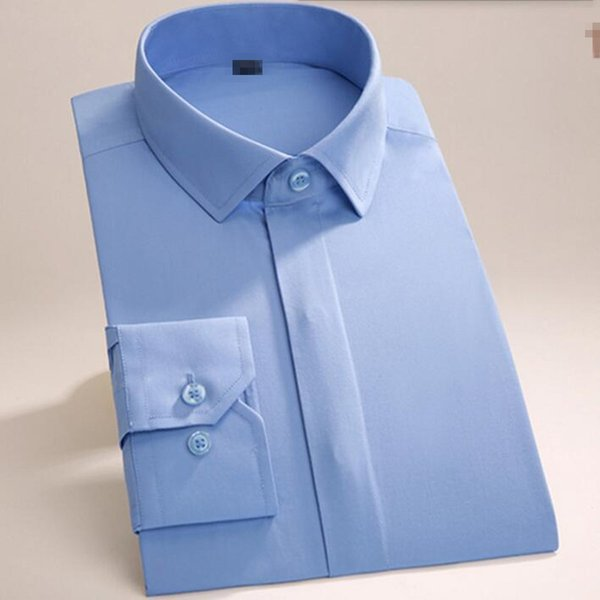Haute couture men shirt slim fit groom dress shirt solid color wedding best man tuxedos shirt long sleeve shirt