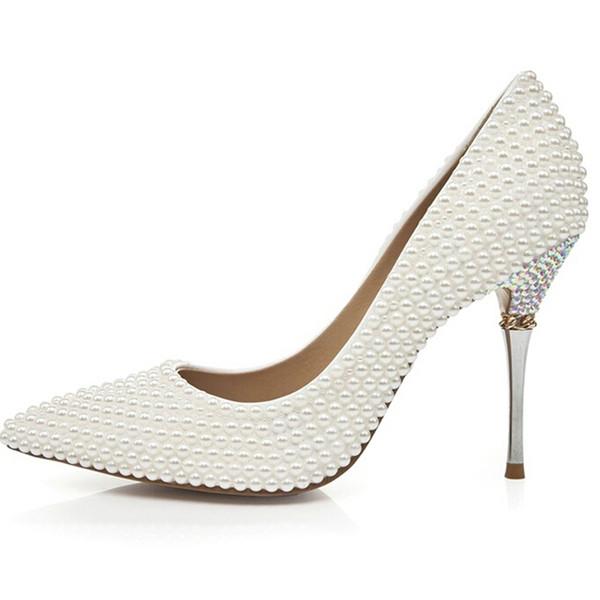 Европейский и американский роскошный жемчуг острым носом свадебные туфли цвета слоновой кости невесты обувь на высоком каблуке партии выпускного вечера платье насосы