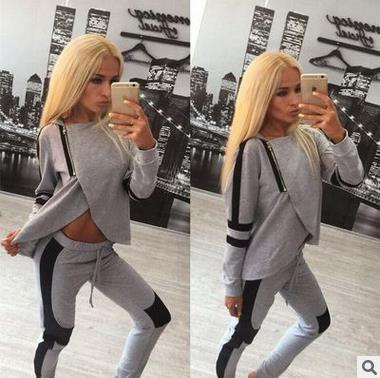 2017 New Women's Sporting Suits Zipper Irregular Sexy Long Sleeves O-Neck Crop Top+Black Gray Pants Suit Women Two Piece Set