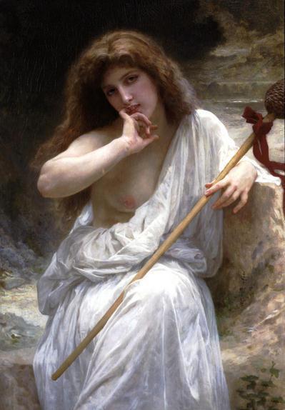 Bouguereau - Ritratto di giovane ragazza in abito bianco nel paesaggio Dipinto a mano Ritratto Olio su tela, disponibili in diverse misure P0026