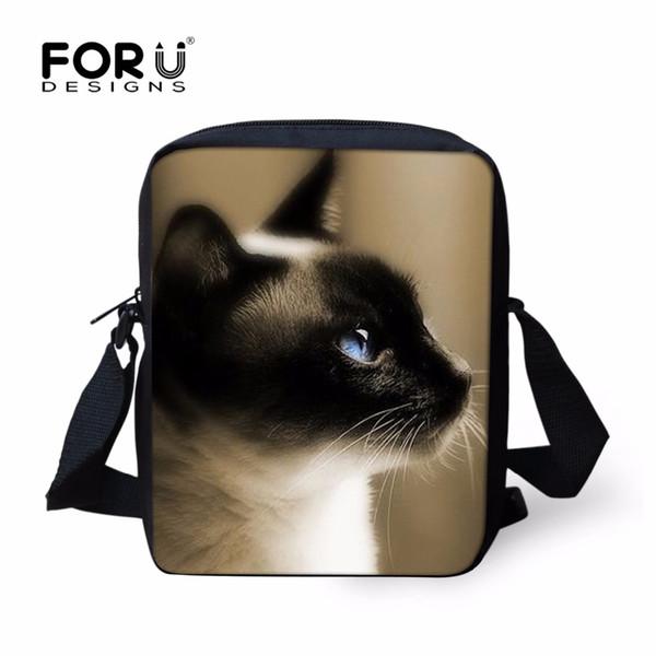 Wholesale- FORUDESIGNS Casual Men Handbag 3D Cat Head Crossbody Bags for Boys High Quality Children Small Shoulder Bag Kids Messenger Bag