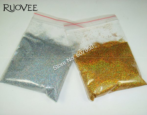"""Wholesale- 50gram x 1/128""""(0.2mm)Laser Holographic Gold&Silver Color Shining Fine Nail Glitter Dust Powder for Nail Art and Glitter Crafts"""