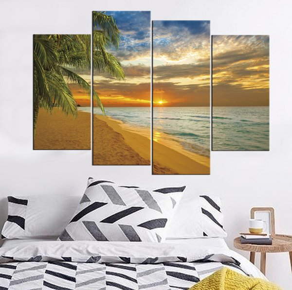 Beach and Coconut Trees At Sunset Frameless Paintings 4pcs(No Frame)Printd on Canvas Wall Art HD Print Painting Picture