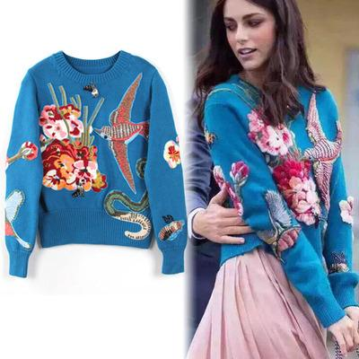 HIGH QUALITY Luxury Embroidery Wool Sweaters 2017 Fashion Runway Women Designer Bird Rhinestone Beading Pullovers Knitted Sweaters