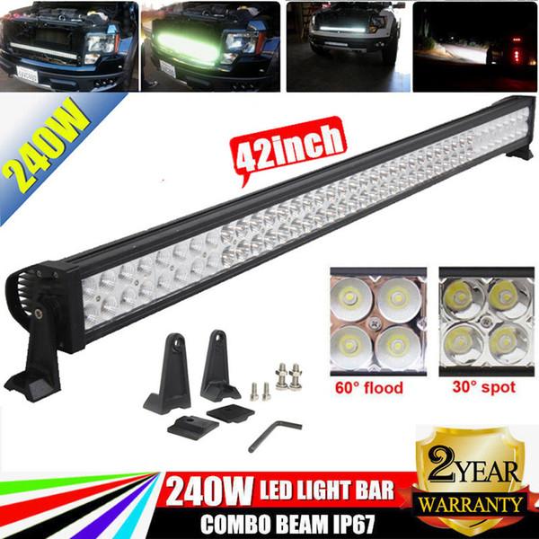 "42"" LED Light Bar 240W Combo Work Light Bar For Off-road 4WD 4x4 Tractor Car Truck Trailer Boat 12V 24V SUV ATV 42 inch + Mounting Bracket"