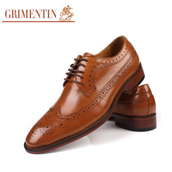GRIMENTIN Hot sale Brand vintage dress men oxford shoes genuine leather black orange business male shoes large size:38-44 OX1