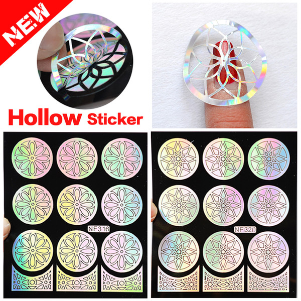 Wholesale- 1Pcs Silver Hollow Vinyls Nail Art Stamp Stamping Plates Stencil Nail Sticker Guide Manicure Nail Art Decoration Tools