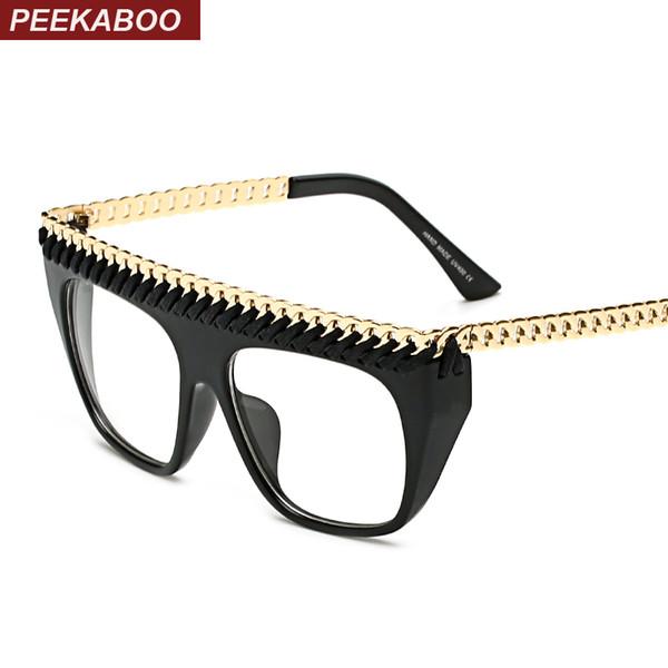 2018 Wholesale Peekaboo Latest Black Gold Chain Glasses Frames For ...