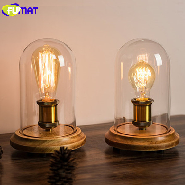 FUMAT Vintage Dimmer Table Lamp Loft Solid Wood Desk Lamp with Glass Shade American Country Bedrom Bedside Light Cafe Home Decor