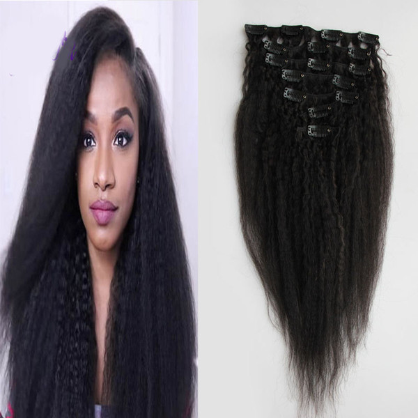 Kinky Straight Clip In Human Hair Extensions 100g And 120g Brazilian