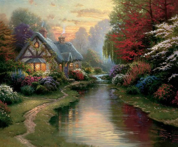 A Quiet Evening Thomas Kinkade Oil Paintings Art Wall Modern HD Print On Canvas Home Decoration No Frame