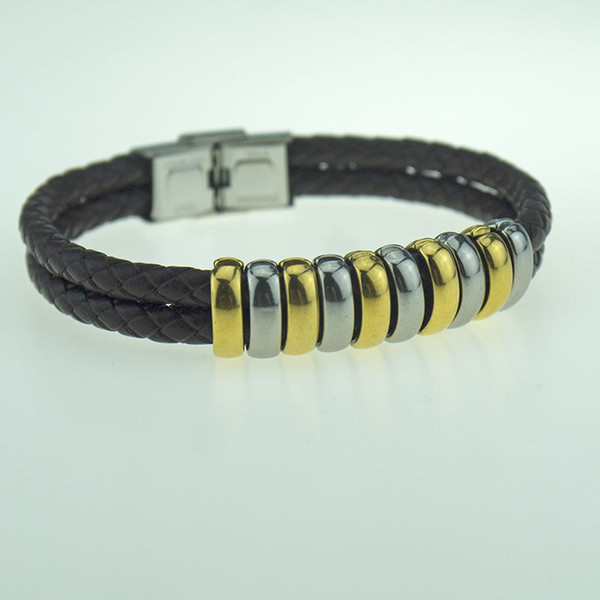 Fancy steel color accessories Leather bracelet fashion jewelry stainless steel buckle double interlaced compilation free mail Brown