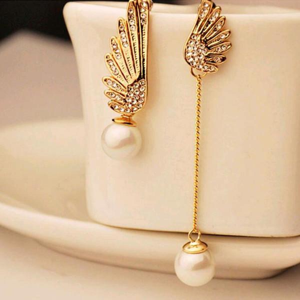 2017 elegante oro asimmetrico doppia ali di angelo orecchini lunghi orecchini di perle per le donne gioielli pendientes