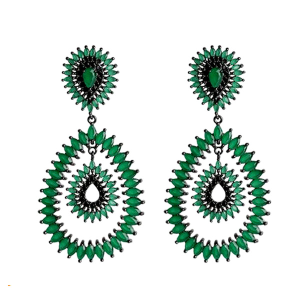 New design famous brand milk stone earrings jewelry,high quality luxury fashion gun black plated green earring for women