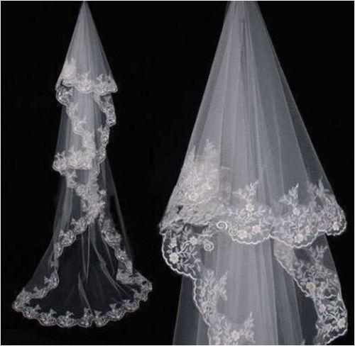 New Arrival White Ivory 3M Cathedral Wedding Bridal Veil Lace Edge Bride Wedding veils No comb
