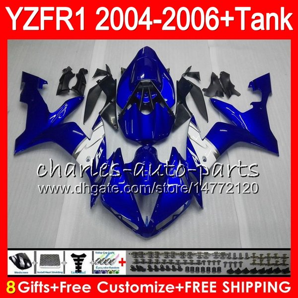 8Gift 23Color Cuerpo para YAMAHA YZF R 1 YZF 1000 YZFR1 04 05 06 58HM17 YZF-R1000 YZF-R1 YZF1000 azul blanco YZF R1 2004 2005 2006 kit de carenado