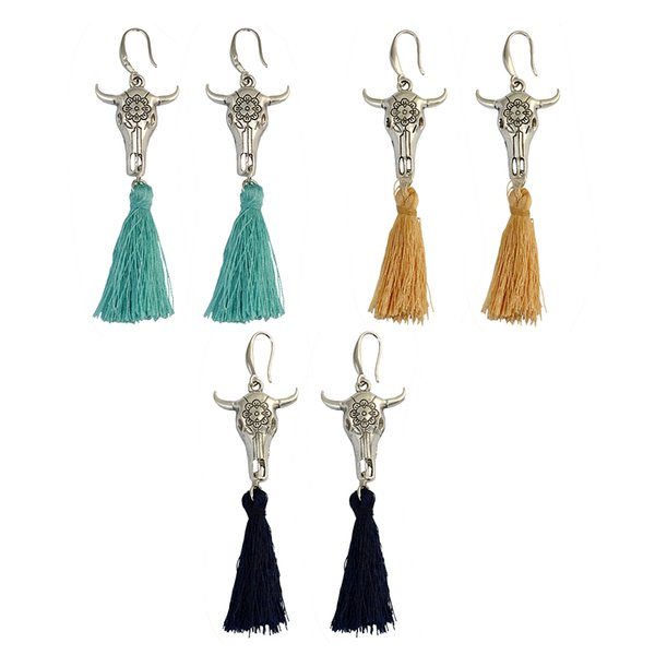 idealway Bohemian Handmade Rope Chain Argento placcato in lega fiore Bovino pendente corda nappa Fishhook ciondola gli orecchini