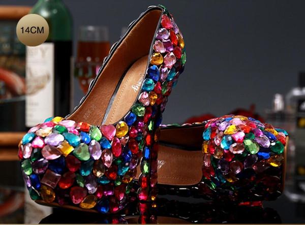 Luxury Colorful Gems Women High Heels Cinderella Shoes Wedding Bridal Bridesmaid Shoes Prom Evening Night Club Party High Heel (10/12/14 cm)