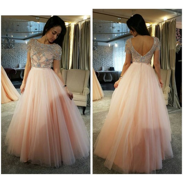 Perfect Two Piece Prom Dress Uk With Bateau Short Sleeve Crystal ...
