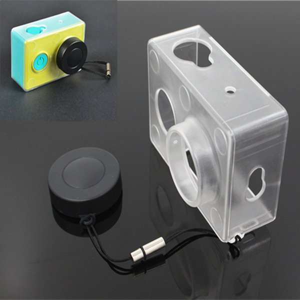 Wholesale- Ultrathin Case for Xiaomi Yi Transparent Protective Box w/ Xiaoyi Action Camera Lens Cap Cover for Xiaomi Yi Camera Accessories