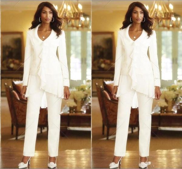 Zarif Uzun Kollu Anne Gelin Pantolon Takım Elbise Şifon Üç Adet Artı Boyutu Anne Örgün Abiye giyim