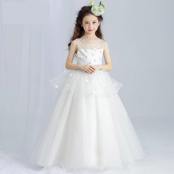 Lace Flower Girls Dresses Hot Pretty Ivory White 2017 Ball Gown Floor Length Girls First Communion Dress Party Dress