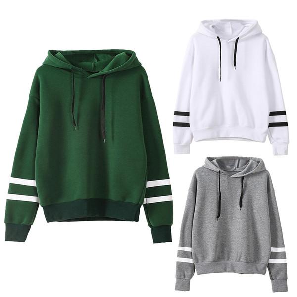 Wholesale- winter Womens sweatershirt Long Sleeve Hoodie Sweatshirt Jumper Hooded Pullover Tops Blouse girl splicing velvet hooded O-Neck