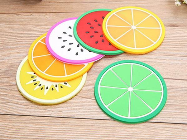 200pcs/lot Fast shipping 9Cm Cute Fruit Coaster Colorful PVC Tea Cup Drinks Holder Mat Placemat Pads
