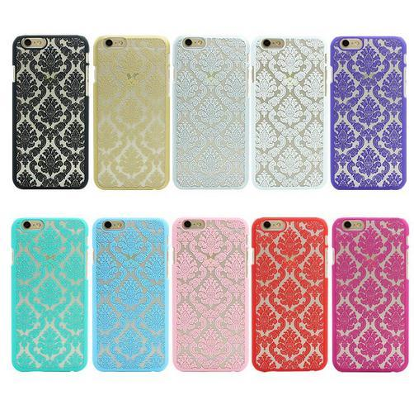 For Samsung S6 Luxury Hard Plastic Back Cover Case For Apple iPhone 5 5S SE 4 4S 6 6S 7 7Plus Damask Vintage Flower Pattern Back Cover Cases