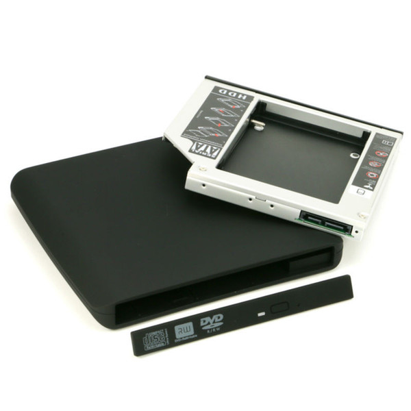 Al por mayor- 12.7mm SATA a SATA 2nd HDD Caddy Optical Bay + External USB 2.0 Optical Drive Enclosure Case