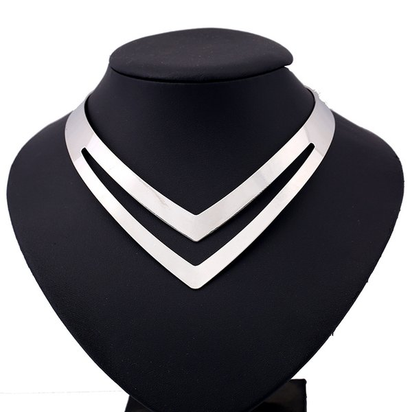 Lzhlq Geometric Hollow Metal Torques Women Trendy Simple Smooth Choker Necklaces Plated Collars Necklace Punk Jewelry Statement