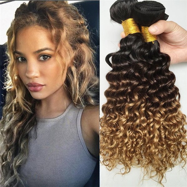 Three Tone Ombre Peruvian Deep Wave Virgin Human Hair 3 Bundles #1B/4/27 Honey Blonde Ombre Deep Curly Hair Weaves 3Pcs/Lot