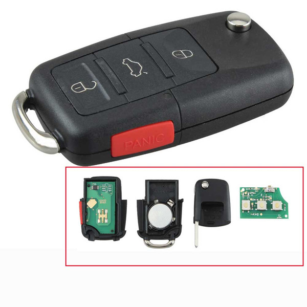 4Buttons Car Replacement Flip Key Remote Keyless Entry Fob For VW 48Chip