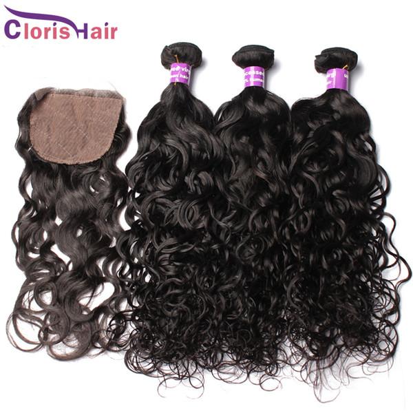 Перуанский девственные волосы волна воды шелк база закрытие с пучками 4шт необработанные натуральные человеческие волосы ткет закрытие влажные и волнистые расширения