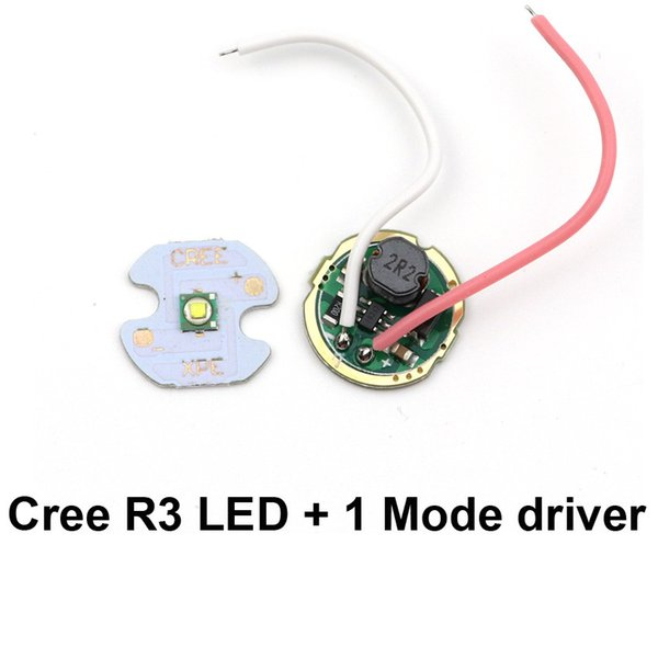 16mm 3W CREE XPE R3 LED Chip diode Lamp LED Emitter + 15.3mm one mode 1.5-3V 3W LED Cree Q5 driver board for flashlight DIY