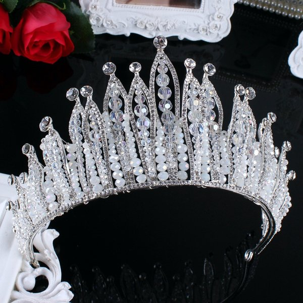 Luxurious Big European Style Hair Crowns 2017 Newest Crystals Pearl Wedding Bridal Tiaras Wedding Accessories For Bride Free Shipping