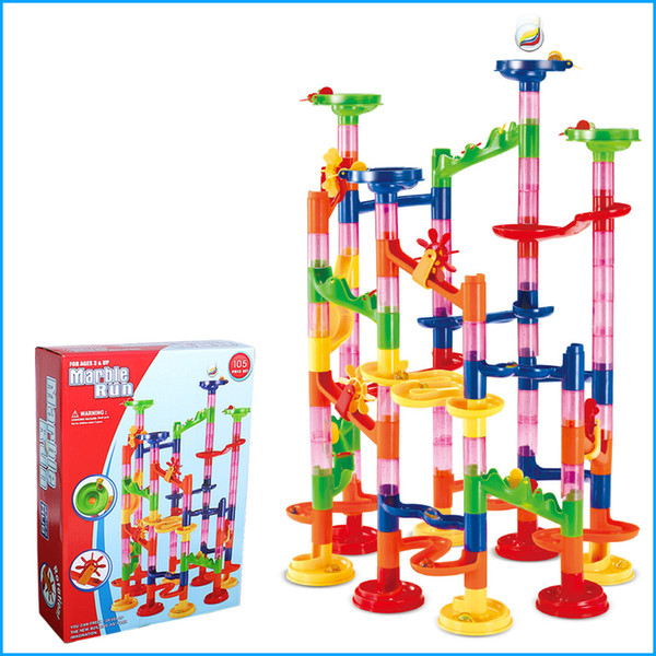 Children Gift, 105Pcs DIY Building Blocks Track Run Race Tower Marble Ball Toys, Kids birthday gift, with original box