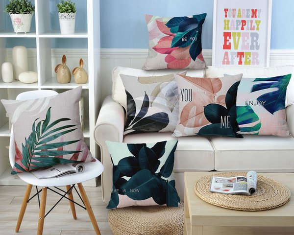 Tropical Green Leaves Cotton Linen Cushion Cover Decorative Pillowcase Chair Seat and Waist Square 45x45cm Pillow Cover Home Living