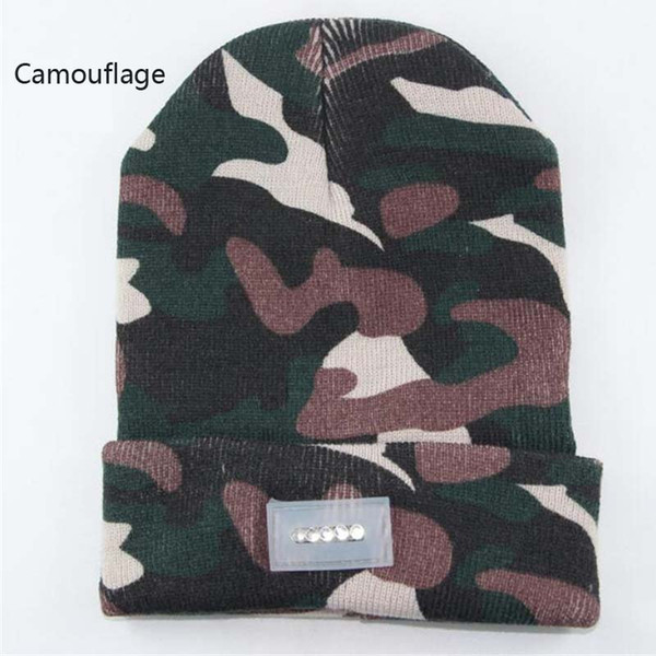 5 LED Light-emitting Beanies Knit Acrylic Hat Winter Hands Warm Angling Hunting Camping Running Caps 13 Colors