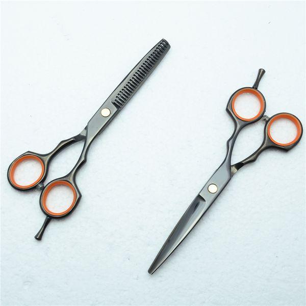 C1004 5.5'' Customized Brand Black Hairdressing Scissors Factory Price Cutting Scissors Thinning Shears professional Human Hair Scissors