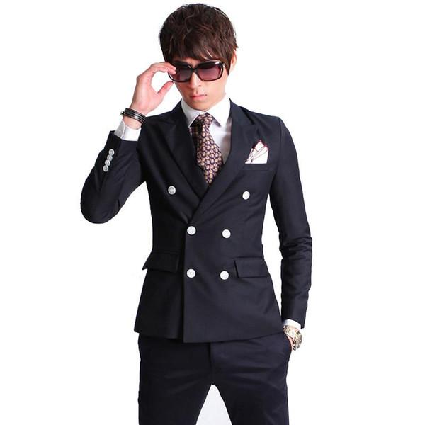 2016 New Fashion Brand Men Blazer Men Double-breasted Suit Set Casual High-quality Slim Fit Suits Groom Wedding Dress Men Suit