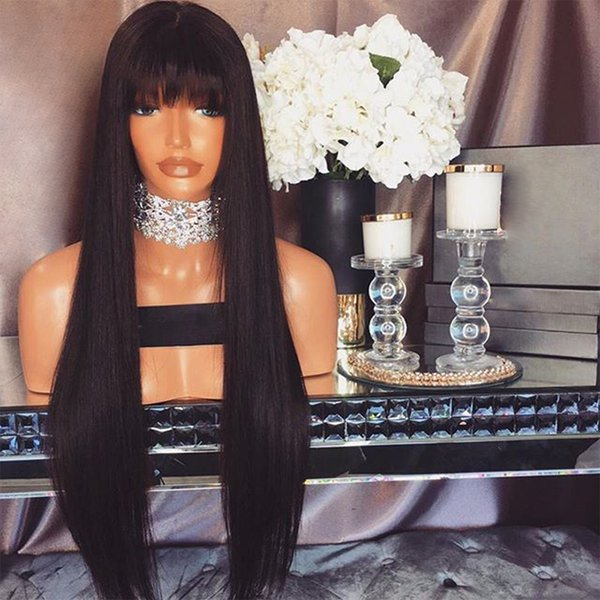 Full Lace Human Hair Wig Silky Straight With Bangs Malaysian Virgin Hair Lace Front Wig Pre-plucked Hairline 150% Density Bleached Knots