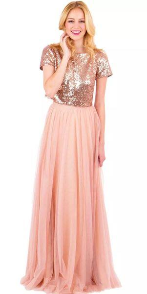 Großhandel 2017 Vintage Rose Gold Zwei Stücke Brautjungfernkleider ...