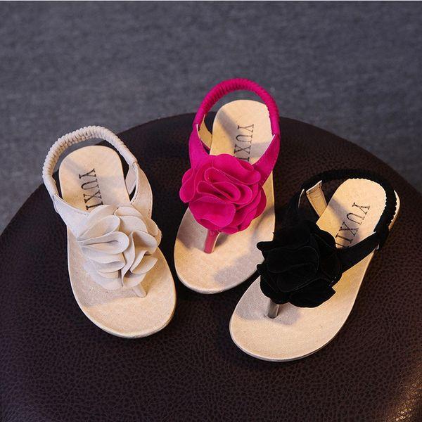 Summer children sandals for girl 3D big flower cowhells bottom pu fabric girls princess shoes baby sandals shoes children's beach shoes