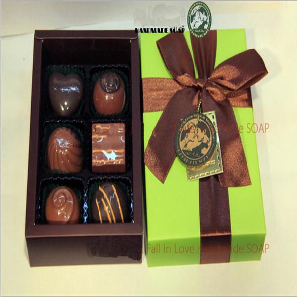 Home Decoration 100% Handmade Chocolate Style Oil Soap Decorative Christmas Gift Box 6 pieces/lot Savon Coffret Idee Cadeaux