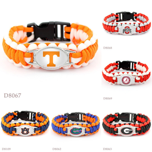Bracelets de camping de survie de Paracord Volontaires du Tennessee Volontaires de l'état de l'Ohio Buckeyes Crimson Tide Auburn Floride Géorgie Bracelets Personnalisé