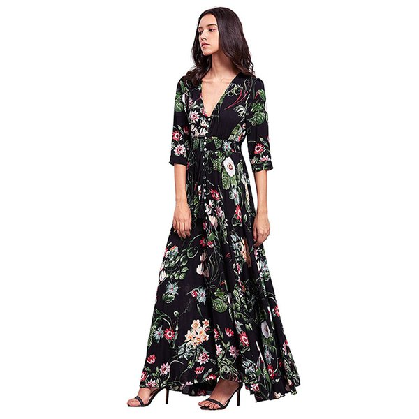 outlet well known luxuriant in design Women'S Button Up Split Floral Print Flowy Party Maxi Dress Casual Evening  Dress Sundress Outfits From Kien, $26.02| DHgate.Com