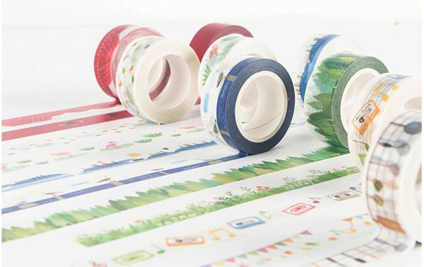 Ordem da mistura aceitável caixa embalada papelaria criativa DIY papel washi fita adesiva escola crianças etiqueta presentes 2016-M-783